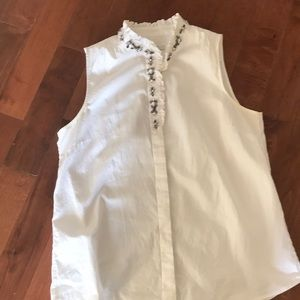 J. crew embellished white button up